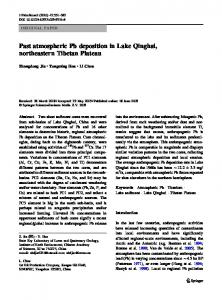 Past atmospheric Pb deposition in Lake Qinghai, northeastern Tibetan