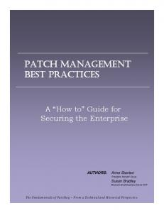 PATCH MANAGEMENT BEST PRACTICES - Ecora