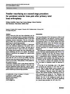 Patellar resurfacing as a second stage procedure for ... - Springer Link