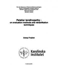 Patellar tendinopathy - KI Open Archive - Karolinska Institutet