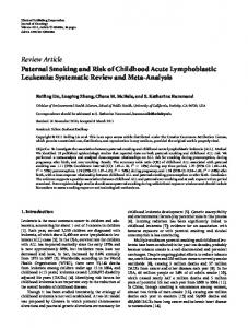 Paternal Smoking and Risk of Childhood Acute Lymphoblastic ...