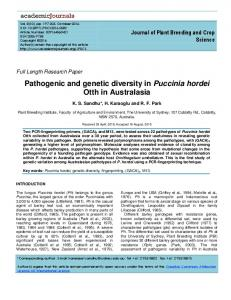 Pathogenic and genetic diversity in Puccinia ... - Academic Journals