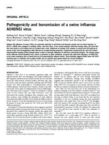 Pathogenicity and transmission of a swine influenza A(H6N6) - Nature