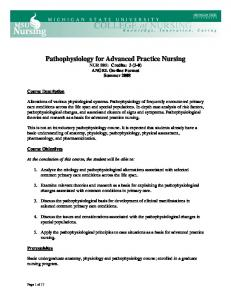 Pathophysiology for Advanced Practice Nursing - College of Nursing