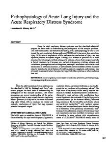 Pathophysiology of Acute Lung Injury and the Acute ... - CiteSeerX