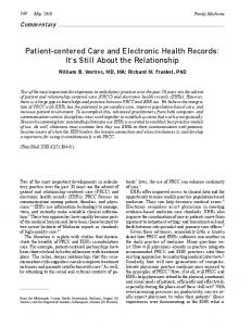 Patient-centered Care and Electronic Health Records: It's ... - CiteSeerX