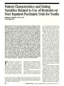Patient Characteristics and Setting Variables ... - Psychiatric Services