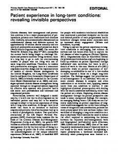 Patient experience in long-term conditions: revealing invisible ...