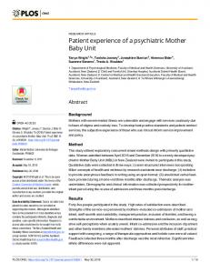 Patient experience of a psychiatric Mother Baby Unit - PLOS