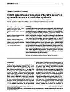 Patient experiences of outcomes of bariatric surgery - Semantic Scholar