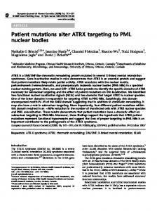 Patient mutations alter ATRX targeting to PML nuclear bodies - Nature
