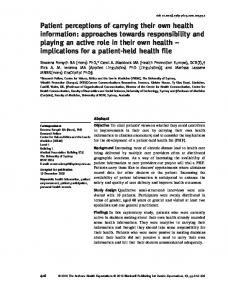 Patient perceptions of carrying their own health ... - Wiley Online Library