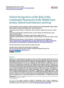 Patient Perspectives of the Role of the Community Pharmacist in the ...