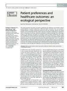 Patient preferences and healthcare outcomes: an ...