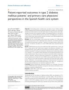 Patient-reported outcomes in type 2 diabetes mellitus: patients' and ...