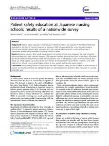 Patient safety education at Japanese nursing schools - BioMedSearch