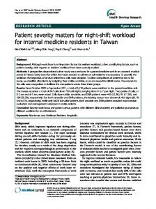 Patient severity matters for night-shift workload for internal medicine ...