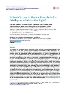 Patients' Access to Medical Records - Scientific Research Publishing