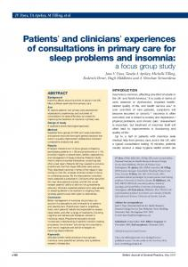 Patients' and clinicians' experiences of consultations in primary care ...