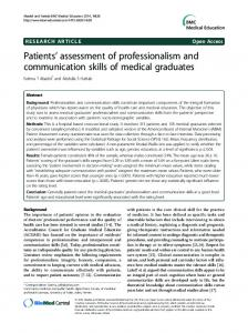 Patients' assessment of professionalism and communication skills of ...