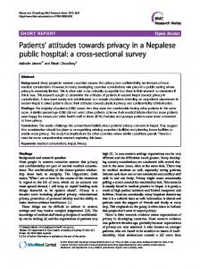 Patients' attitudes towards privacy in a Nepalese public hospital: a ...