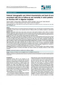 Patients' demographic and clinical characteristics and level of care ...