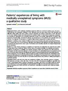 Patients' experiences of living with medically unexplained symptoms ...
