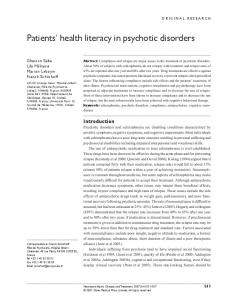 Patients' health literacy in psychotic disorders