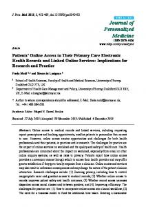 Patients' Online Access to Their Primary Care Electronic Health - MDPI