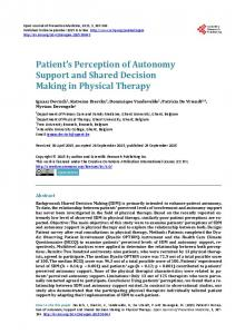 Patient's Perception of Autonomy Support and Shared ...