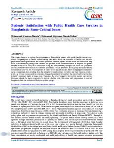 Patients' Satisfaction with Public Health Care Services in Bangladesh ...