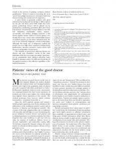 Patients' views of the good doctor - PubMed Central Canada