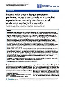 Patients with chronic fatigue syndrome performed ... - BioMedSearch