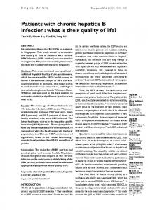Patients with chronic hepatitis B infection: what is their ... - CiteSeerX