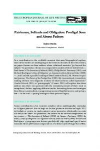 Patrimony, Solitude and Obligation: Prodigal Sons and Absent Fathers