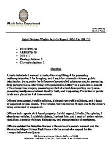 Patrol Division Weekly Activity Report 12/5/13 to 12/11/13 ...