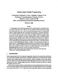 Pattern-based Parallel Programming - Department of Computing ...