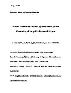 Pattern Informatics and Its Application for Optimal Forecasting of Large ...