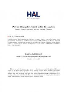 Pattern Mining for Named Entity Recognition - Hal