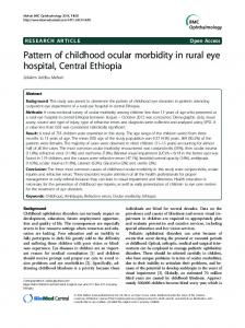 Pattern of childhood ocular morbidity in rural eye ... - BioMedSearch