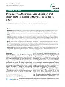 Pattern of healthcare resource utilization and direct ... - BMC Psychiatry