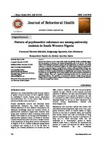 Pattern of psychoactive substance use among ...