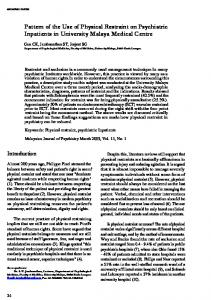 Pattern of the Use of Physical Restraint on Psychiatric ... - Core