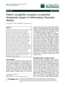 Pattern recognition receptors as potential therapeutic ... - CiteSeerX