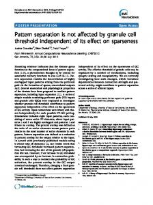 Pattern separation is not affected by granule cell ... - Springer Link