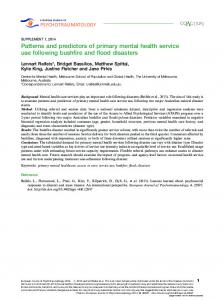 Patterns and predictors of primary mental health service use following ...