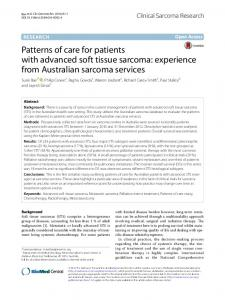 Patterns of care for patients with advanced soft tissue sarcoma ...