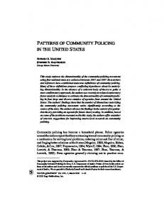 patterns of community policing in the united states - Ed Maguire