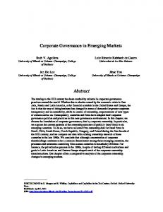 patterns of corporate ownership in emerging markets - Gies College of ...
