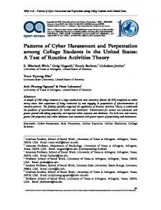 Patterns of Cyber Harassment and Perpetration among College ...